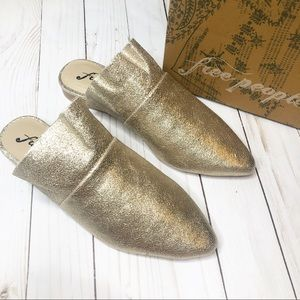 Free People Gold Sienna Slip On Mule